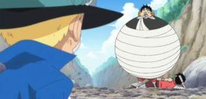 Luffy pertama x memamerkan kekuatan DFnya